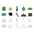 set flat adventure traveling icons camping vector image