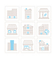 set of building icons and concepts in mono thin vector image vector image