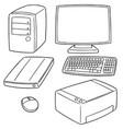 set of computer equipment vector image