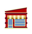 the facade of the shop with a sloping roof and a vector image vector image