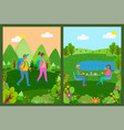 touristic people couple in forest eating food set vector image vector image