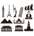 world landmarks silhouettes elements set vector image vector image