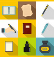 writing icons set flat style vector image vector image