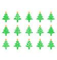 green christmas tree icons set vector image