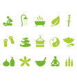 green color spa icons set vector image