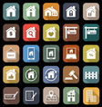 Real estate flat icons with long shadow vector image