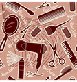 hairdressing equipment seamless pattern background vector image