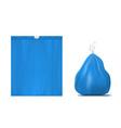 3d plastic flat and full trash bag vector image