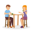 a happy couple chat and talk on the restaurant vector image