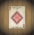 Ace of diamonds poker cards old look varnished vector image vector image