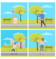 activity in park man and woman outdoor vector image vector image