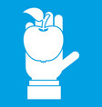 apple in hand icon white vector image