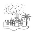 arabic castle with moon in the night vector image vector image