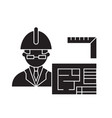 architect builder black concept icon vector image