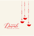 awesome red hanging diwali diya background vector image vector image