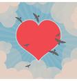 birds flying around heart in sky vector image vector image