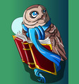 book smart owl and a book vector image vector image
