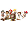 Boys and girls in camping outfit vector image vector image