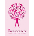 Breast cancer support poster woman ribbon tree vector image