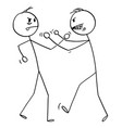 cartoon two angry men fighting with fists vector image