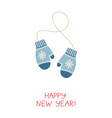 christmas greeting card with mittens vector image