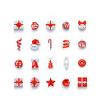 christmas icons and objects set holidays vector image
