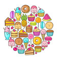 circle from funny sweets fruit and ice cream vector image