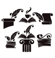 collection of old books parchment and hist vector image vector image