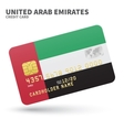 Credit card with United Arab Emirates flag vector image vector image