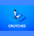 crutches isometric icon isolated on color vector image vector image
