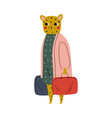 cute female tiger tourist with suitcases funny vector image vector image