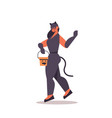 cute girl in cat costume holding bucket vector image