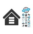 Data Center Building Flat Icon with Bonus vector image