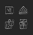 domestic textile chalk white icons set on dark vector image vector image