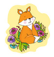 doodle cute little fox in flowers vector image vector image