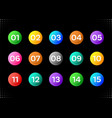 fifteen colorful numbers icons vector image