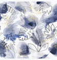 floral blue abstract painted pattern vector image vector image