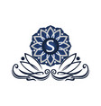 flower elegant icon initial s vector image vector image