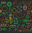 food seamless pattern modern outline icons vector image vector image