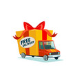 free delivery concept delivery truck with gift vector image vector image