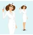 friendly nurse with syringe vector image vector image