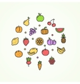Fruits and Vegetables Round Design Template Thin vector image