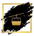 funicular cable car sign golden icon at vector image