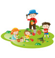gardener and many children working in garden vector image vector image