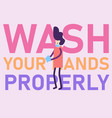 hand washing with soap coronavirus lettering vector image
