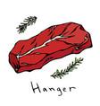 hanger steak cut isolated on white vector image vector image