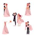 happy wedding couple set bride and groom vector image vector image