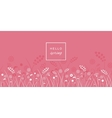 Hello spring letters on meadow pink background vector image vector image