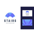 logo and business card template with stair sign vector image vector image
