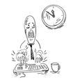 Office worker trying to meet his deadline vector image vector image